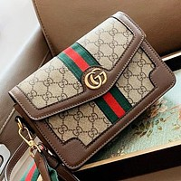 GUCCI New fashion stripe more letter leather crossbody bag shoulder bag