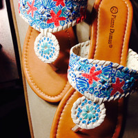 """Lilly Pulitzer Inspired Jack Rogers Look-Alike Sandals in """"She She Shells"""""""