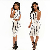 White Printed Sleeveless Cutout Bodycon Midi Dress