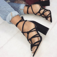 Roman cross lace-up sandals with thick heels