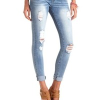 "Refuge ""Boyfriend"" Medium Wash Destroyed Jeans - Med Wash Denim"
