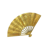 Brass Fan Asian Phoenix Bird Floral Vintage Decorative Wall Hanging Chinoiserie Ornate Art Dragon Peacock Chinese Mythology