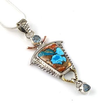 Spiny Oyster Turquoise & Blue Topaz  Sterling Silver Three Tone Pendant