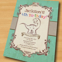 Dinosaur Birthday Invitation for any age 1st 2nd 3rd 4th 5th 6 7 8  kids birthday invitation Vintage boy Retro Rustic invitation - card 259