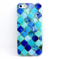 Iphone 5c Case, JAHOLAN Blue Embroider Flower Clear Bumper TPU Soft Case Rubber Silicone Skin Cover for iphone 5c