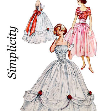 50s Evening Wedding Dress Pattern Bolero Jacket Wide Shoulder Drape Collar Uncut Vintage Simplicity 2231 Sewing Patterns Size 12 Bust 32