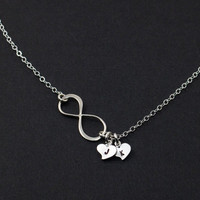 Infinity Necklace. Heart Silver Necklace. Personalized Jewelry. Bridesmaids.  friendship. Couple Infinity Love