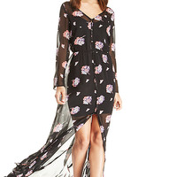 DailyLook: Sheer Floral Button Down Maxi Dress in Black S - L