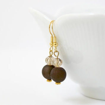 Simple Dark Chocolate Brown and Champagne Beaded Dangle Earrings - Small Jewelry