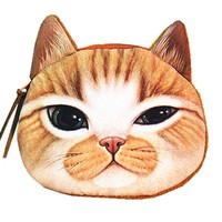 Orange Tabby Kitty Cat Face Shaped Soft Fabric Zipper Coin Purse Make Up Bag