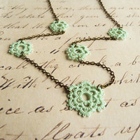 Flower lace necklace - handmade lace jewelry retro wedding boho Victorian vintage inspired Downton Abbey style Mothers Day gift - mint green