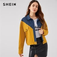 Trendy SHEIN Multicolor Office Lady Drop Shoulder Cut And Sew Single Breasted Highstreet Jacket New Autumn Fashion Women Coat Outerwear AT_94_13
