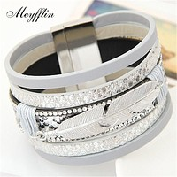 Feather Leaf Wide Magnetic Leather Bracelets