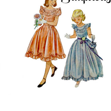 40s Girls Fancy Special Occasion Dress Pattern Two Lengths Scalloped Hemlines Scoop Necklines Vintage Simplicity 2685 Sewing Patterns Size 7