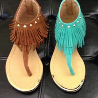 Brown Boho Fringe Sandal