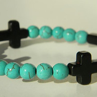 Black Cross with Turquoise Spacer Beaded Bracelet (Crafted in the USA)