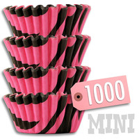 Mini Black & Hot Pink Zebra Baking Cups 1000