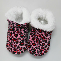 New Women Winter Home Leopard Print Indoor  Boots Warm Padded Short Plush Soft Bottom Non-slip Indoor Shoes Free Size For 36-39