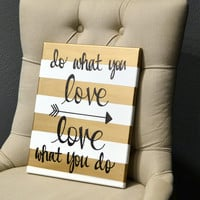 Inspirational Canvas Wall Art Painting Gold and White Stripe Love What You Do Office Studio Wall Art Wall Hanging Inspirational Arrow Art