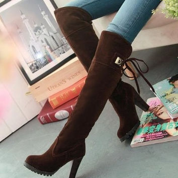 botas femininas 2015 knee boots women fashion long boot winter footwear high heel shoes sexy snow warm zapatos mujer EUR size 34-39 = 1946758980