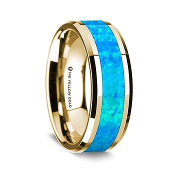 Baha 14K Yellow Gold Wedding Ring with Blue Opal Inlay Beveled Edges - 8 mm