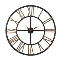 Metal Framed Roman Numeral Open Back Wall Clock Mombaca Black,Gold