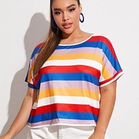 2020 new women's rainbow stripe printed stretch half sleeve T-shirt