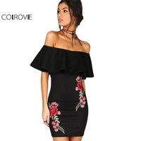 Rose Off Shoulder Embroidery Party Dresses Rose Applique Ruffle Elegant