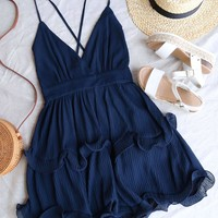 Sabrina Sleeveless Ruffle Trim Criss Cross Dress in Navy