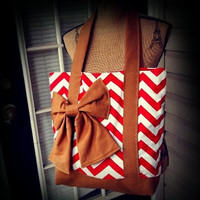 Canvas Lipstick Red and White Chevron Tote with Tan Straps Book bag / laptop bag / diaper bag / tote bag / canvas bag
