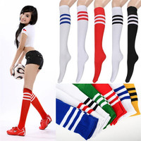 2016 Fashion 7Colors Women/ Men Striped Solid Color Long Socks Classic Europe Ankle Long Over Knee Fashion Unisex Causal Style