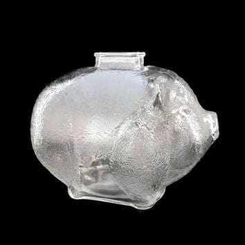 Vintage Glass Piggy Bank - Depression Glass, Galaxy Glass, Mottled Clear Glass, Still Bank, Collectible Glass Coin Bank,