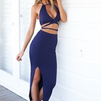 Two Piece Maxi Skirt Set - Serenity | Navy Blue Maxi Dress