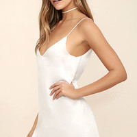 Dance 'til Dawn White Satin Slip Dress