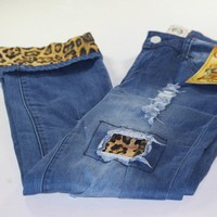 Women's L&B Destoryed Strech Jeans with Leopard Patch's and cuff's
