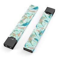 Blue Coral Whispy Feathers - Premium Decal Protective Skin-Wrap Sticker compatible with the Juul Labs vaping device