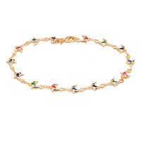 Yellow Gold- Filled Multi- Color CZ Dolphin Anklet
