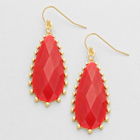 Teardrop Red Cocktail Earrings