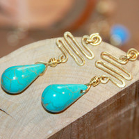 Turquoise Earrings, Gold Turquoise Earrings, Turquoise Stud Earrings, Turquoise Jewelry, Beaded Jewelry