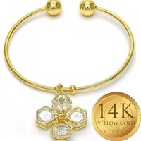 Gold Layered Women Individual Bangle, with White Cubic Zirconia, One size fits all by Folks Jewelry