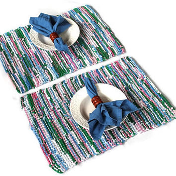 Spring Placemats Easter Pink Blue White Gray Green Cottage Chic Retro Knitted Artisan Upcycled TShirts (set of 2) --US Shipping Included
