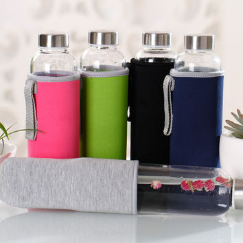 Glass Water Bottle with protective bag 280ml,360ml,550ml Drinking glass teapot sports travel bottles