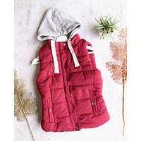 Red Winter Puffer Vest with Hood in Burgundy/Maroon
