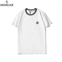 Moncler 2019 new trend chest small logo simple wild round neck half sleeve t-shirt white