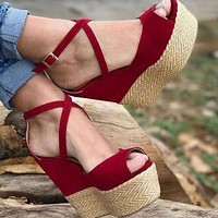 New hot sale fashion wedge color matching high heel sandals shoes
