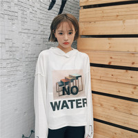 Women Girls Student No Water Letter Printing Long Sleeve Casual Loose Tops  Pullover Sweatshirt Reversible
