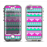 The Lime Green & Purple Tribal Ethic Geometric Pattern Apple iPhone 5-5s LifeProof Nuud Case Skin Set