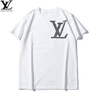 LV 2019 early spring new tide brand chest LOGO letter printing casual bottoming shirt white