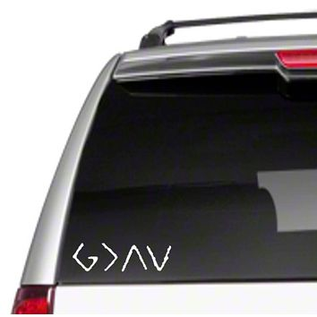 """God is Greater Than Highs & Lows 6.5""""Car Vinyl Sticker Decal G > Ups and Downs Christian Religious I Love Jesus is Great Good Saved Faith Trust hopeD2"""