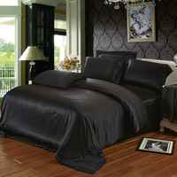Black color 19 mm mulberry silk bedding set 100% mulberry silk 4 pieces set Italy Queen size sheets 160 x 200 cm customize